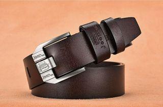 Cinturón hombre, piel auténtica. Marrón/Café.