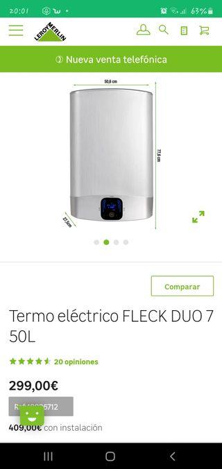 Termo eléctrico marca Fleck Dúo 7. 50L