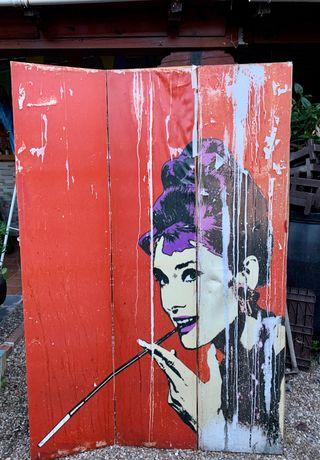 Biombo vintage Audrey Hepburn para restaurar