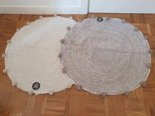 NUEVA - Alfombra redonda 100% algodón (80x80cm)