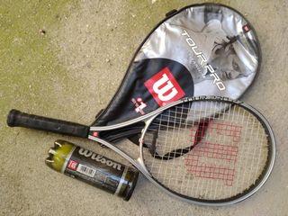 Raqueta tenis y 9 pelotas