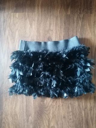 Minifalda plumas- Nueva con etiqueta