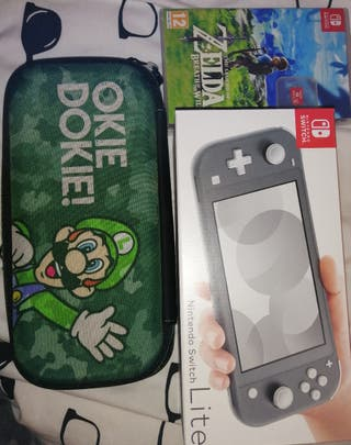 Nintendo Switch Lite with a game, case & SD card
