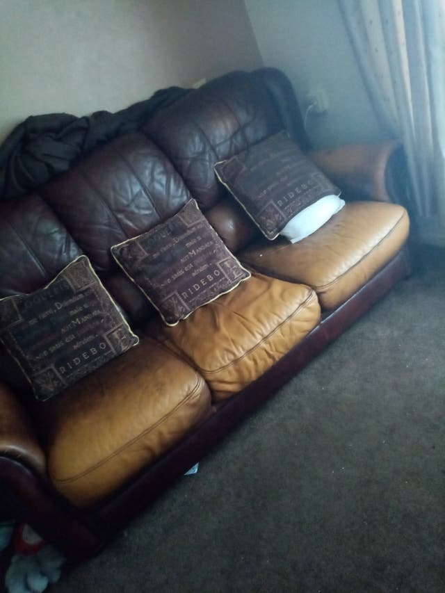brown real leather sofa and table and chairs