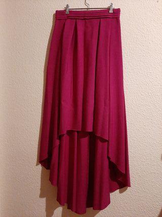 Falda midi asimetrica de fiesta rosa buganvilla.