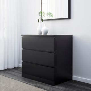 Cómoda Ikea MALM color negro marrón