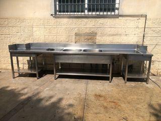 Fregadero industrial inox 390x70 dos senos