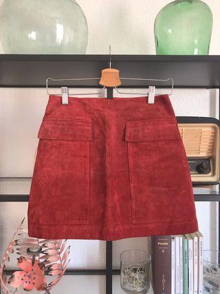 Mini falda piel zara xs