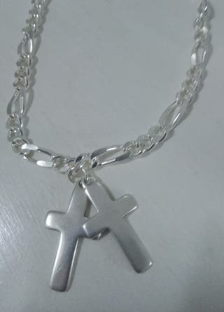 Collar de hombre de eslabones con dos cruces