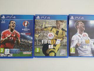 Videojuegos PS4 FIFA 17 FIFA 2018 y Pes2016
