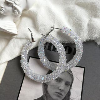 White color diamanté hoop earring