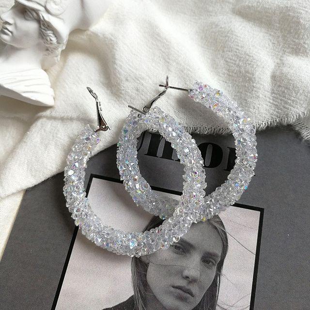 White color diamanté hoop earring