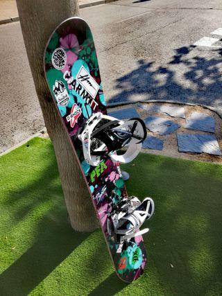 tabla snowboard chica Burton Gennie más fijaciones