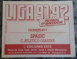Cromo Spasic (Osasuna) 91-92.