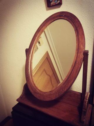 Espejo de tocador giratorio madera roble