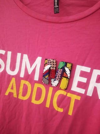 Camiseta Rosa Summer addict