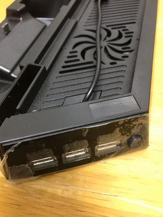 Base de refrigeración ps4 con cargador de 2 mandos