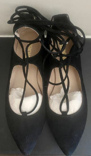 Suede lace-up ballet flats