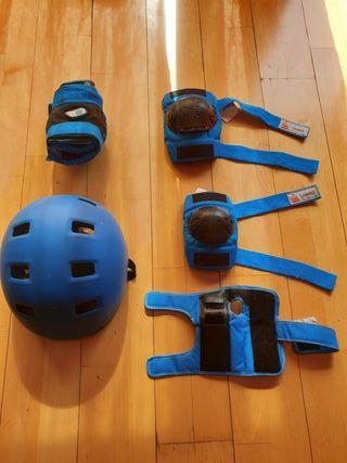 protecciones y casco skate bmx infantil