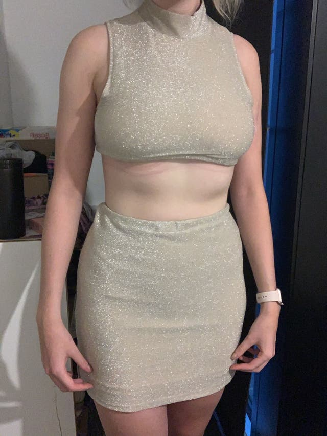 Gold one of a kind co ord top and skirt