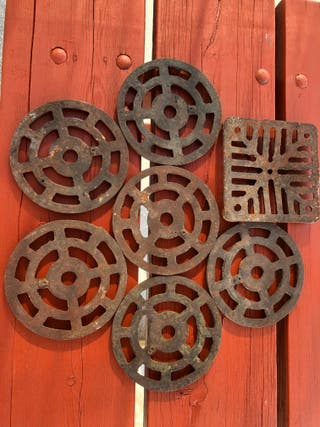 "Old round and square 6"" cast iron gulley grids"