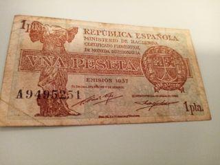 Billete Una Peseta de 1937 Serie A