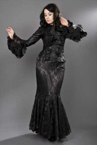 BURLESKA Falda Gótica Sirena Encaje Satén Negro
