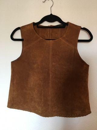 Top piel marrón Zara