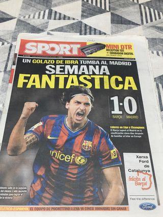 Diario Periodico Sport. Gol de Ibrahimovic.