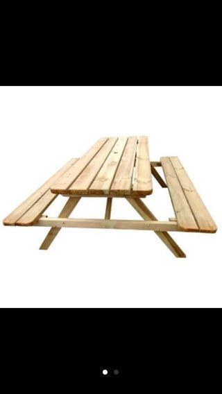 Mesa picnic asientos abatibles madera natural