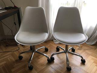 Lot 2 chaises de bureau blanc