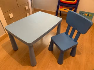 Mesa y silla Mammut Ikea azul