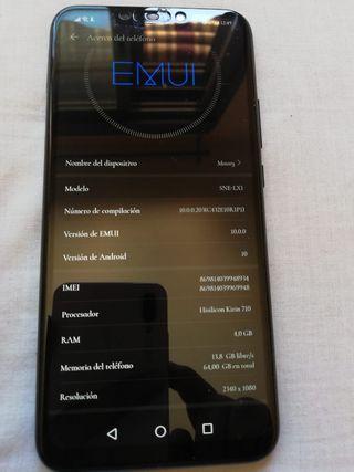 Huawei mate 20. 4gb de ram 64gb de memoria