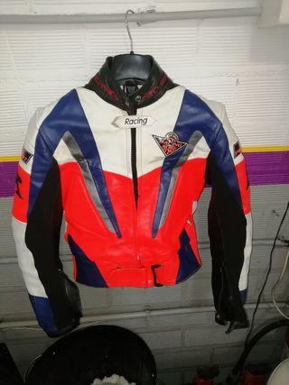 traje moto cuero 2 piezas