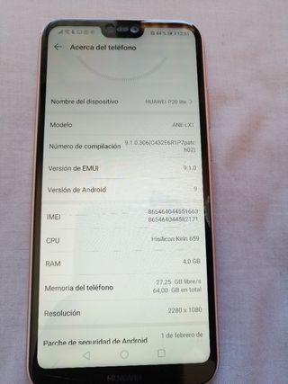 Huawei p20 Rosa, 4 gb de ram y 64gb de memoria