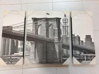 Conjunto 3 cuadros puente EEUU