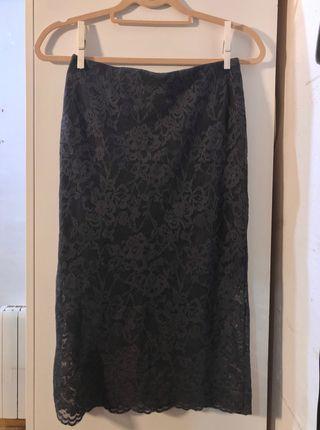 Falda gris larga