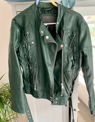 Faux leather green jacket. Size S