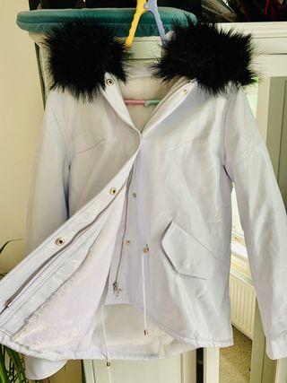 White Amy Lynn parka with faux fur hood