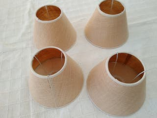 4 tulipas de tela arpillera