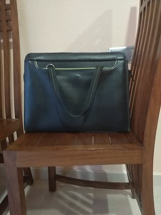 maletín VGG para portátil. de piel. negro y verde