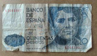 Billete 500 pesetas Rosalía de Castro Año 1979