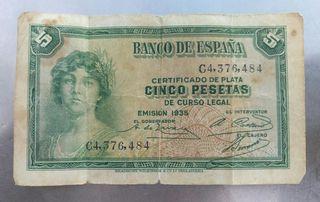 Billete Antiguo 5 pesetas Año 1935