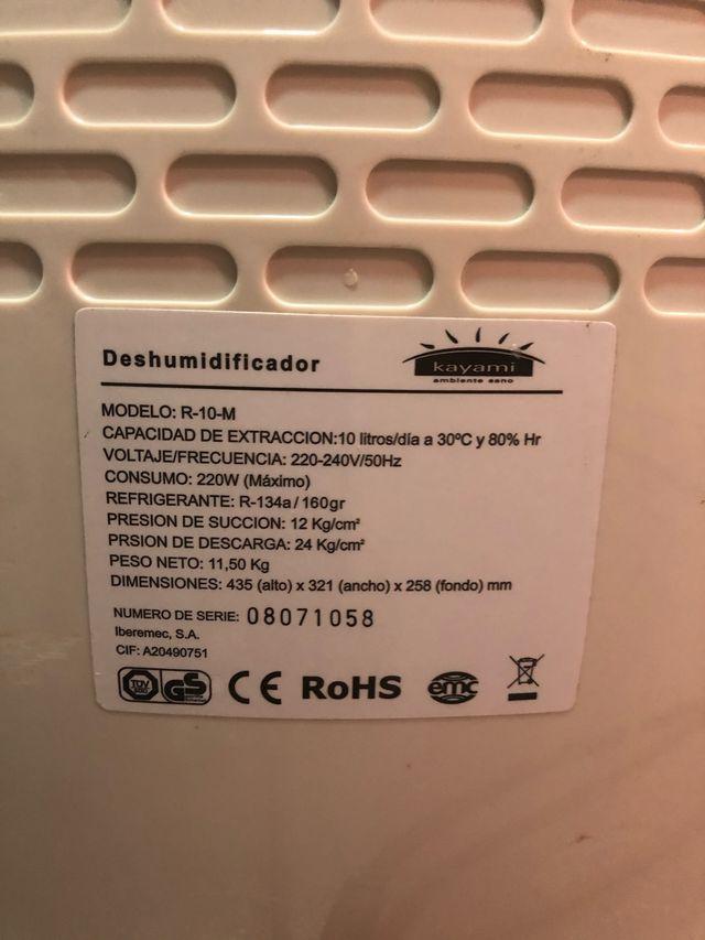 Deshumidificador kayami 10 litros