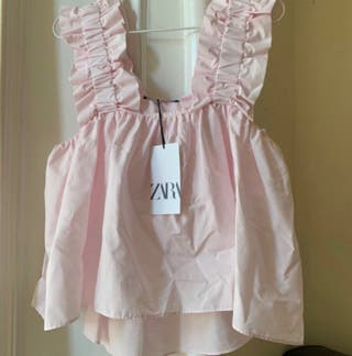 pink frill strap crop top