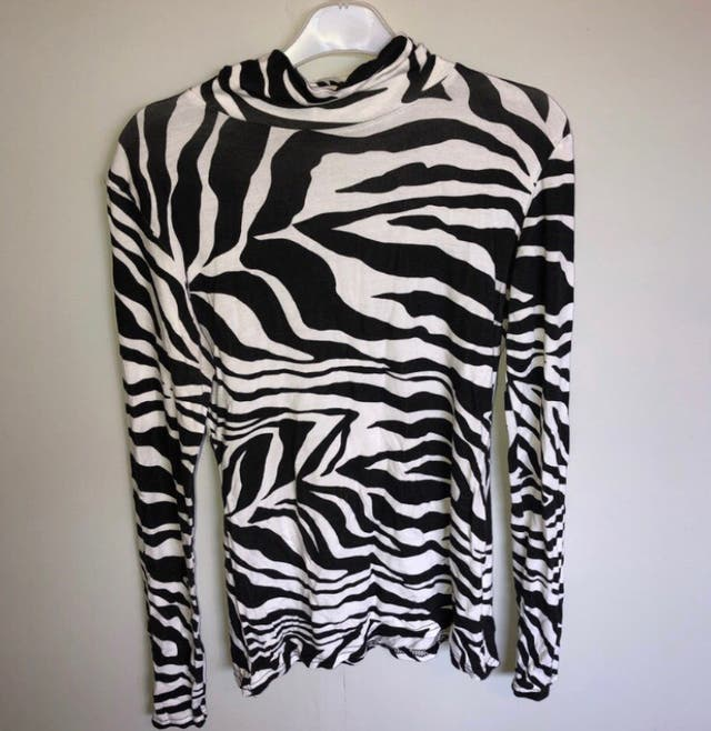 zebra black and white long sleeve high neck top