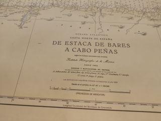 Carta navegación de Estaca de Bares a Cabo Peñas.