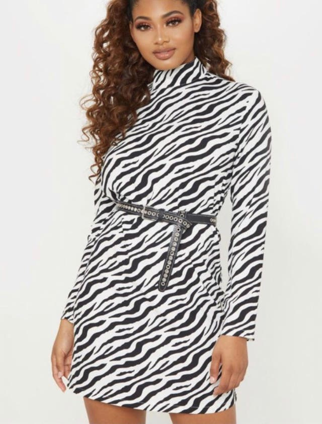 zebra print long sleeve high neck dress