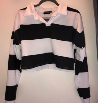 black and white stripy polo cropped jumper