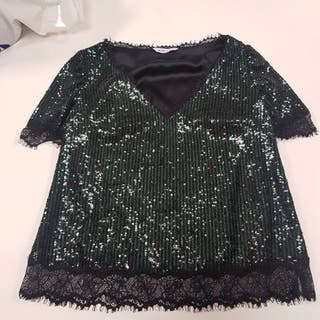 Camiseta top color negro y verde FELIPE VARELA